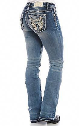 Miss Me Distressed Floral Mid-Rise Boot Cut Jeans
