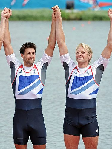 G.B. rowing gold medalists, Tom James and Andrew Triggs Hodge