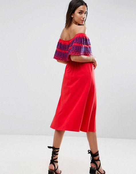 a8e9b2bd0c ASOS Off Shoulder Midi Sundress with Broderie Frill - Red