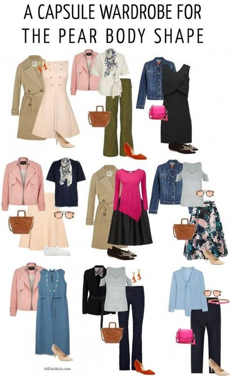 How to dress the pear body shape - A capsule wardrobe for t Pear Shaped Dresses, Pear Shaped Outfits, Pear Shape Fashion, Mode Outfits, Fashion Outfits, Office Outfits, Triangle Body Shape, Pear Shaped Women, Pear Body