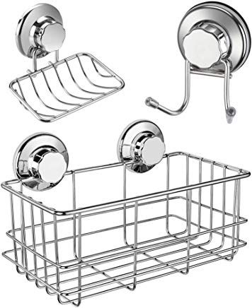Suction Cup Soap Dish Rack Sponge Holder for Bathroom Kitchen 304Stainless Steel