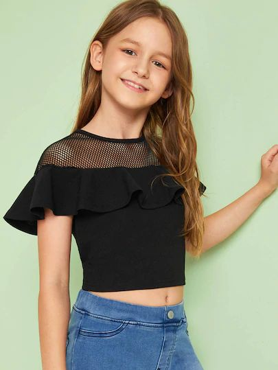 Check out this Girls Mesh Yoke Ruffle Trim Crop Top on Shein and explore more to meet your fashion needs!