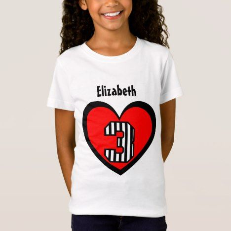 3rd Birthday 3 Year Old Striped Number Heart V122 T Shirt Kidsclothing Tshirts Age Threeyearold Toddlers Shirts Kids Children
