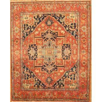 Serapi Oriental Hand Knotted Wool Orange Beige Area Rug Wool Area Rugs Area Rugs Beige Area Rugs