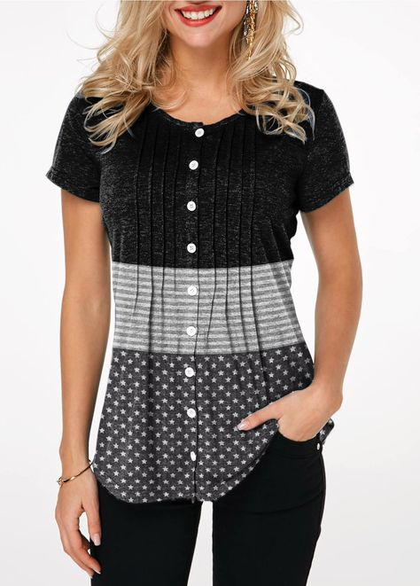 ROTITA Button Up Crinkle Chest Star Print T Shirt