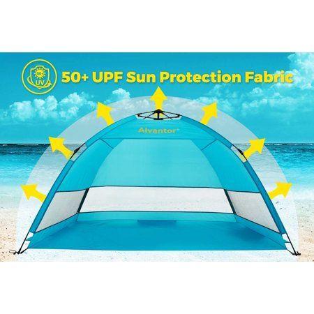 Beach Umbrella Tent Automatic Pop Up Sun Shelter Upf 50 Cabana Camping Hiking Canopy By Alvantor Walmart Com In 2020 Beach Tent Tent Diy Beach Tent