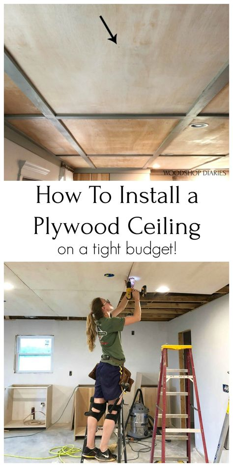Basement Makeover, Basement Renovations, Home Remodeling, Cheap Ceiling Ideas, Plywood Ceiling, Wood Ceilings, Finished Garage, Garage Walls, Garage House