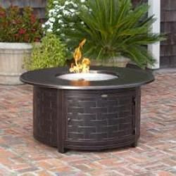 Fire Sense Perissa 48 50 000 Btu Propane Round Fire Pit Table Woven Cast Aluminum 62208 In 2020 Round Fire Pit Table Fire Pit Backyard Outdoor Fire