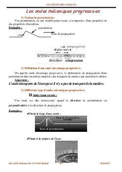 Les Ondes Mecaniques Progressives Resume De Cours 1 Alloschool Onde Mecanique Mecanique Ondes