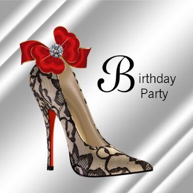 Red Black High Heel Shoe Birthday Party