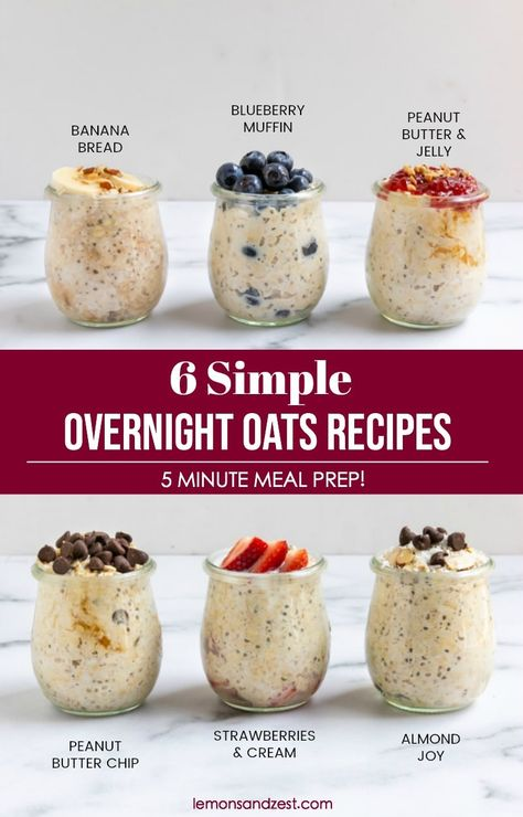 6 Easy Overnight Oats Recipes Wondering where to start with overnight oats? Start here! Learn all you need to know when starting out with overnight oats and try these 6 easy overnight oats flavors that will certainly become your favorite! Overnight Oats Receita, Overnight Oats In A Jar, Low Calorie Overnight Oats, Overnight Breakfast, Overnight Oats Recipe Uk, Healthy Overnight Oatmeal, Overnight Oats Coconut Milk, Overnight Steel Cut Oats, Rolled Oats Recipe