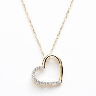 Diamond Petites 10k Gold Two Tone 1 10 Ct T W Diamond Heart Pendant Heart Pendant Diamond Diamond Heart Heart Pendant