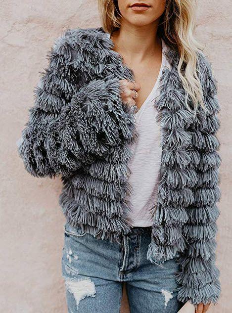 Womens Open Front Faux Fur Cardigan Vintage Parka Shaggy Jacket Coat