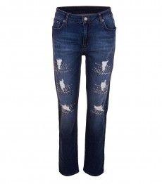 Aprico Stretch Jeans Destroyed-Look für Damen mit Strass in Blau Für Damen,  Damen 5f65c13c3c
