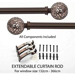 Deco Window 1 Inch Adjustable Brown Curtain Rods For Windows