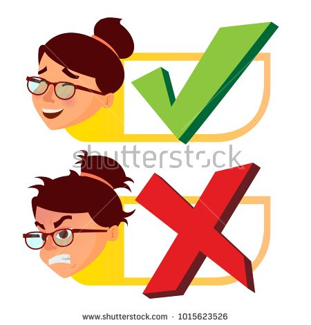 Yes And Now Sign Vector Woman Face With Emotions Approval And Disapproval Right And Wrong Check Box Isolated F Illustration Woman Face Cartoon Illustration