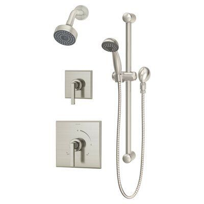 Symmons Duro Diverter Complete Shower System Finish Satin Nickel Shower Systems Symmons Fixed Shower Head