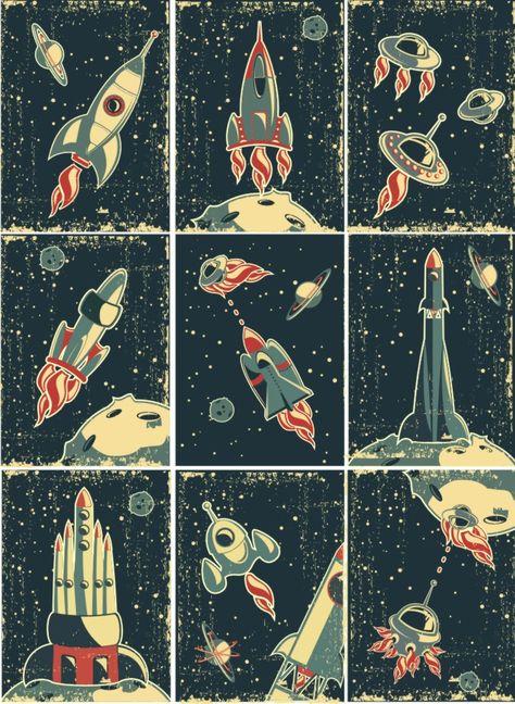 Cartoon aerospace illustrator vector is free