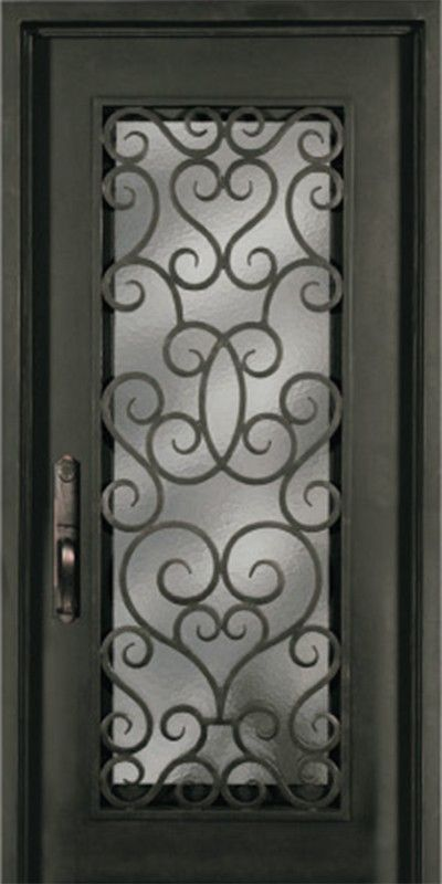 Forged Iron Full Lite Single Entry Door Sh Grille Single Entry Doors Entry Doors Iron Doors