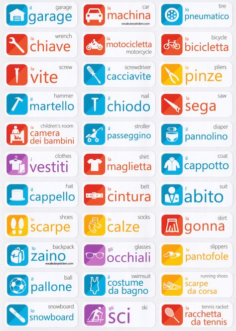 🇮🇹 Italian Language Learning Stickers