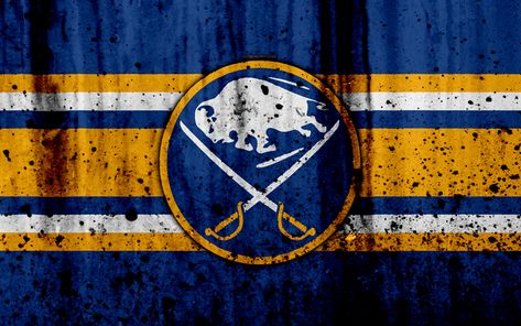 Download wallpapers 4k, Buffalo Sabres, grunge, NHL, hockey, art, Eastern Conference, USA, logo, stone texture, Atlantic Division
