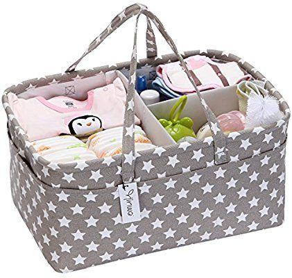 Baby Nappy Caddy Organiser Portable Diaper Caddy Car Organizer Foldable Nursery Essentials Storage Bins,Blue