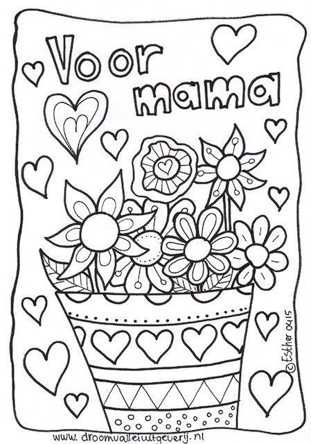 Kleurplaten Moederdag Oma.Moederdag Kleurplaat Met Bloemen Moederdag Moederdag Moederdag