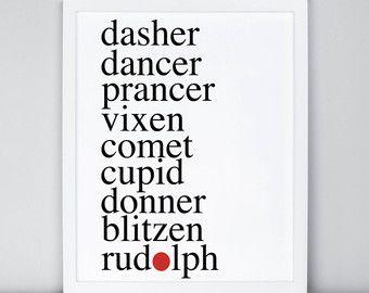 Reusable Stencil PaintMeASign Stencil Wood Sign Dasher Dancer Prancer Vixen Comet Cupid Donner Blitzen Rudolph Stencil Christmas Stencil