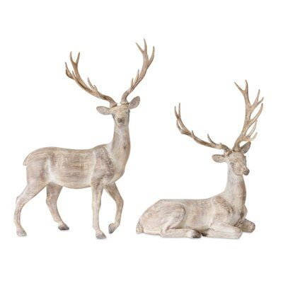 The Holiday Aisle 2 Piece Resin Deer Set Christmas Deer Christmas Tabletop Decor Christmas Tabletop