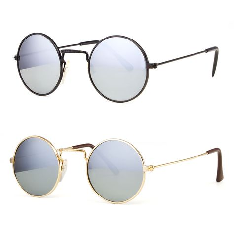 ce54ad449b661 John Lennon Sunglasses Round Hippies Shades Revo Retro Vintage Small Mirror  Lens