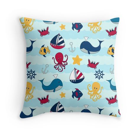 Nautical Themed Ocean Pattern With Cartoon Animals Throw Pillow By Pamela Maxwell Nautical Theme Cartoon Animals Nautical