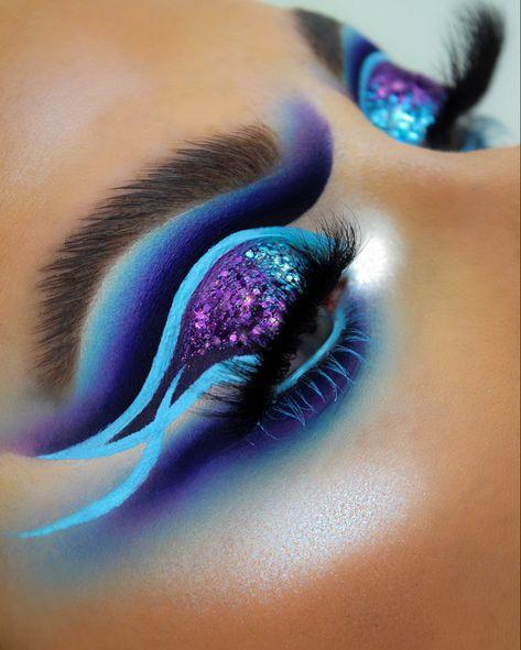 Bright Eye Makeup, Makeup Eye Looks, Eye Makeup Art, Star Makeup, Colorful Eye Makeup, Pretty Makeup, Eyeshadow Makeup, Makeup Looks For Brown Eyes, Rainbow Makeup