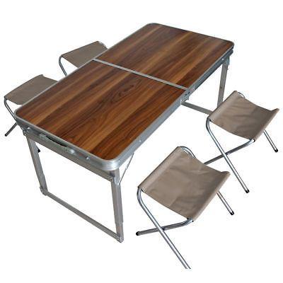 Alu Camping Set Klappbar 4x Stuhl Tisch Holzdesign Alu Camping