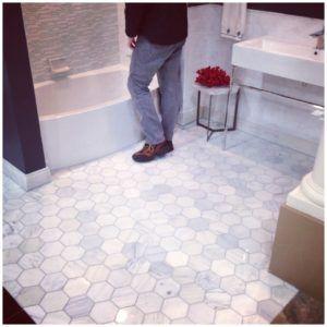 carrara marble tile bathroom floor