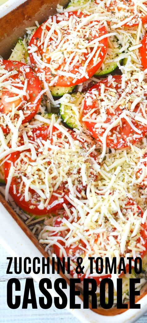 Zucchini Tomato Casserole with Bread Crumb Topping, melty mozzarella and delicious Parmesan cheese is an amazing layered vegetable casserole bake that will make you excited to eat your veggies! #vegetablebake #casserolebake #zucchinicasserole #tomatocasserole #recipes #layeredcasserole #sidedish #healthysidedish #italiansidedish