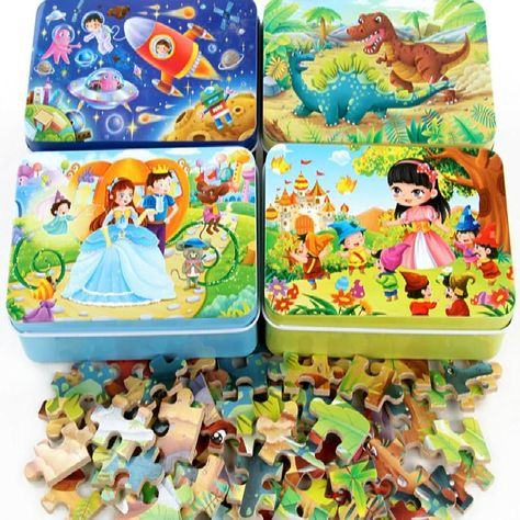 60 Pieces Wooden Puzzle Kids Toy Cartoon Animal Wood Jigsaw Puzzles Child Early Educational Learning Toys for Christmas Gift - hot air balloon