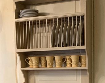 Triple Shelf Wood Plate Dish Rack Glasses Spices Organizer Kitchen Cabinet In 2020 Wood Cabinets Plate Racks Plate Rack Wall