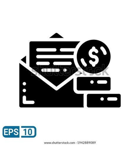 Envelope Money Icon Solid Style Isolated Stock Vector (Royalty Free) 1942889089