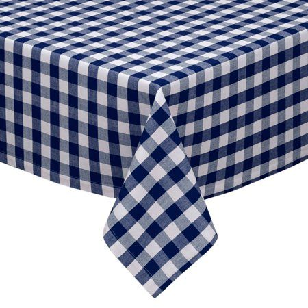 Navy And White Cotton Rich Checkered Kitchen Dining Room Tablecloth Gingham Plaid Design Walmart Com Checkered Tablecloth Design Imports Dining Room Tablecloth