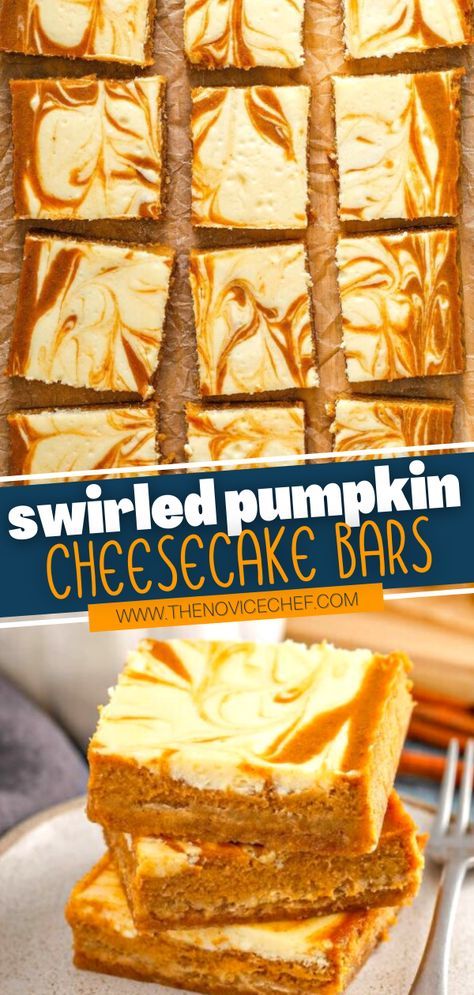 One bite of these Swirled Pumpkin Cheesecake Bars will have you hooked! This recipe easy is to whip together and perfect to make ahead of Thanksgiving. Served with a dollop of whipped cream on top, this dessert is sure to impress everyone at your table! Save this pin!