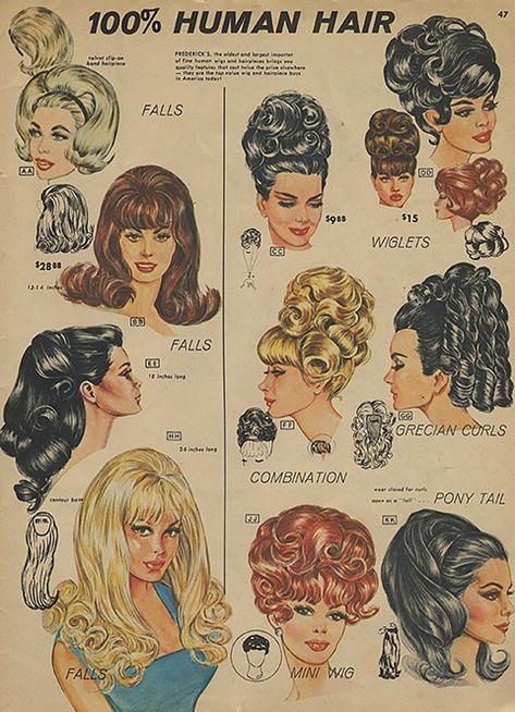 Frederick's of Hollywood. Frederick's of Hollywood. Pin Up Hair, Big Hair, Vintage Makeup, Vintage Beauty, 60s Makeup, High Bun Hair, Hair Buns, Pelo Retro, 1940s Hairstyles