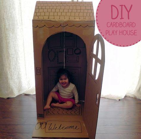 DIY Cardboard Play House for a Rainy Day