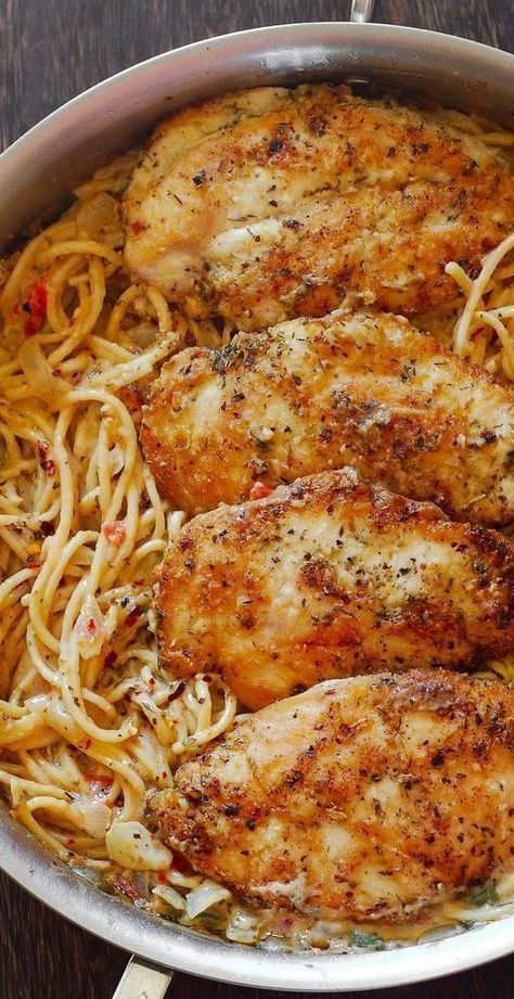 Chicken Pasta with Creamy Parmesan and White Wine Sauce