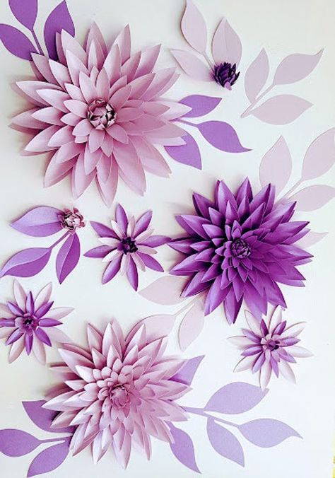 SALE - Paper Flower Table Decor #51- Dahlia Set - SVG Digital Download Template - small paper flower
