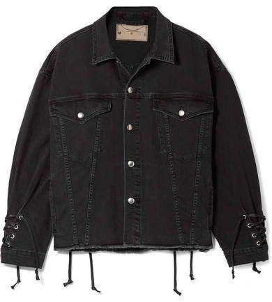 Black Oversized Lace Up Frayed Denim Jacket Mcq Alexander Mcqueen Black Denim Jacket Black Denim Jacket Outfit Oversized Black Denim Jacket