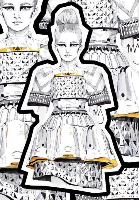 Mary Katrantzou illustration art fashion sketchbook draw black and white creation