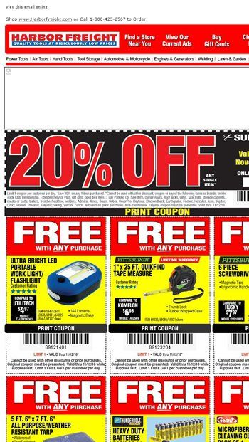 Don T Forget Veterans Day 4 Day Sale Going On Now Harbor Freight Tools Email Archive Harbor Freight Tools Print Coupons Sale Emails