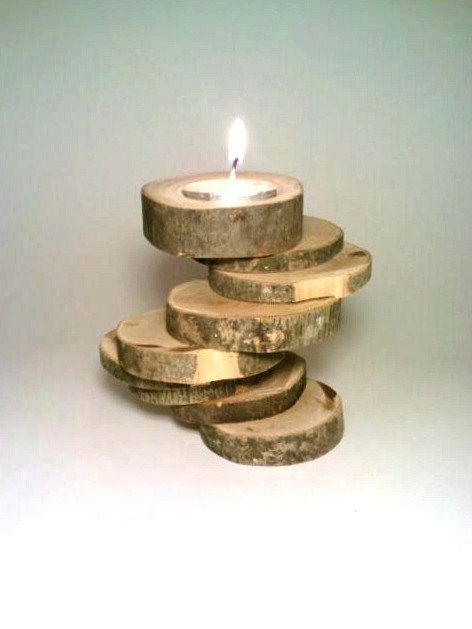 Candle Holder Rustic Log By DeerwoodCreekGifts 2500