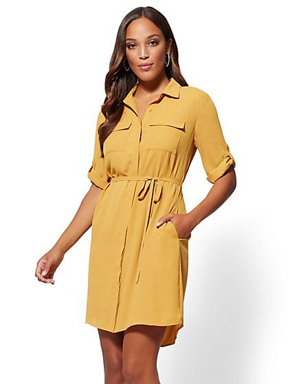 5e7997a5f Gold Belted Shirtdress - New York & Company   New York & Company ...