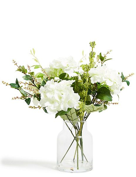 Artificial Hydrangea Foliage Mix In Large Jar M S In 2020 Artificial Flowers Hydrangea Artificial Hydrangeas